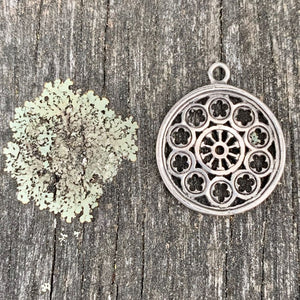 Large Rose Window Pendant with Bail, Sterling Silver, Rowena Watson Designs