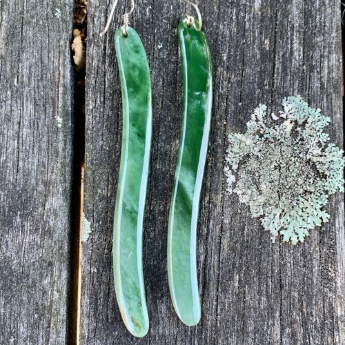 Tuna Eel Marsden Flower Earrings, New Zealand Greenstone