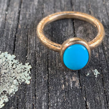 Bluebird Turquoise and 14ct Yellow Gold Beaten Band Ring, Rowena Watson Designs