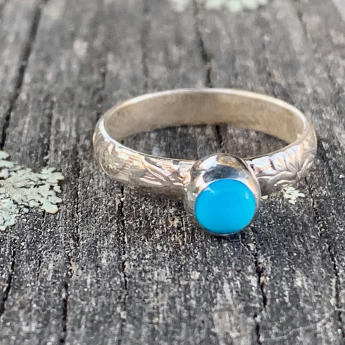 Sleeping Beauty Turquoise Ring with Ornate Band, Rowena Watson Designs