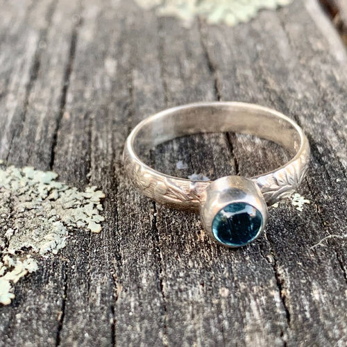 Blue Topaz Ring with Ornate Band, Rowena Watson Designs