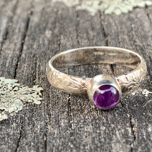 Amethyst Ring with Ornate Band, Rowena Watson Designs