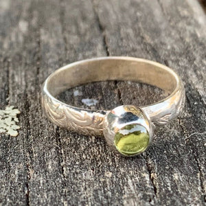 Peridot Ring With Ornate Band, Rowena Watson Designs