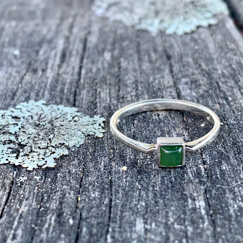 Square Stacker Ring, New Zealand Greenstone