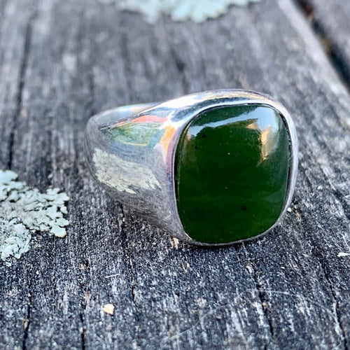 Pounamu Signet Ring, New Zealand Greenstone