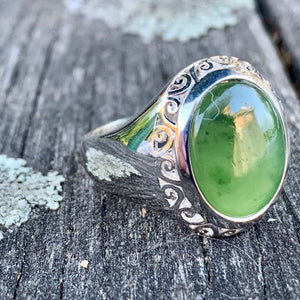 Filigree Pounamu Ring, New Zealand Greenstone