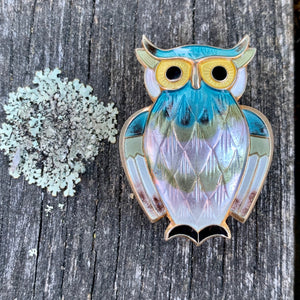 Vintage Enamel and Sterling Silver Owl Brooch, David Andersen