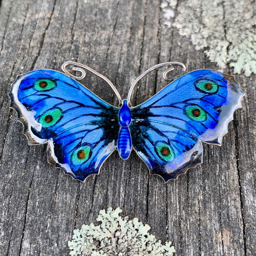 Vintage Enamel and Sterling Silver Butterfly Brooch, J A Atkins