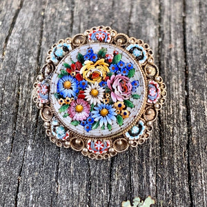 1920's Venetian Micro Mosaic and Sterling Silver Brooch