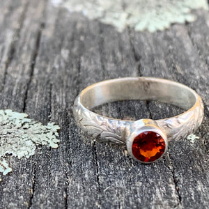 Fire Citrine Ring with Ornate Band, Rowena Watson Designs