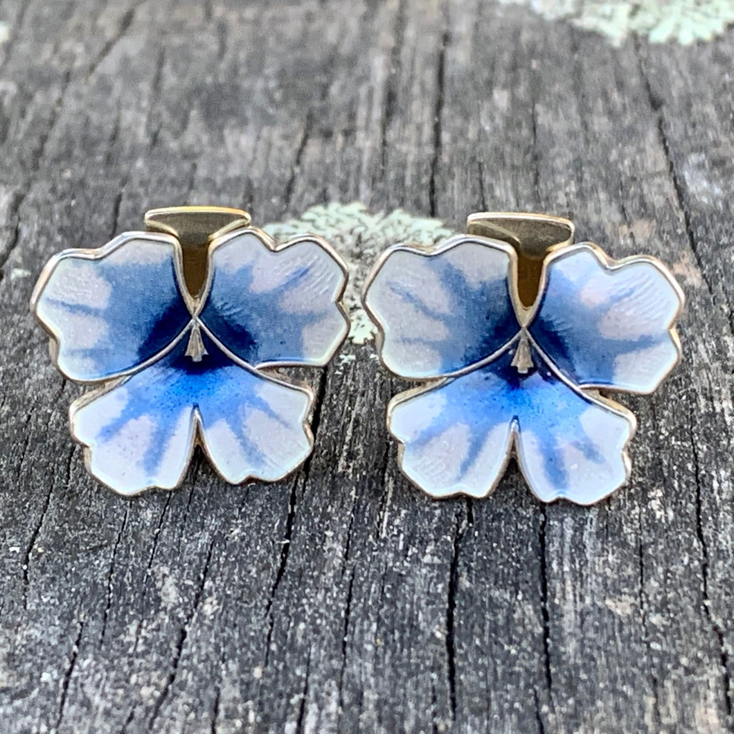 Vintage Enamel Clip On Pansy Earrings, David Andersen