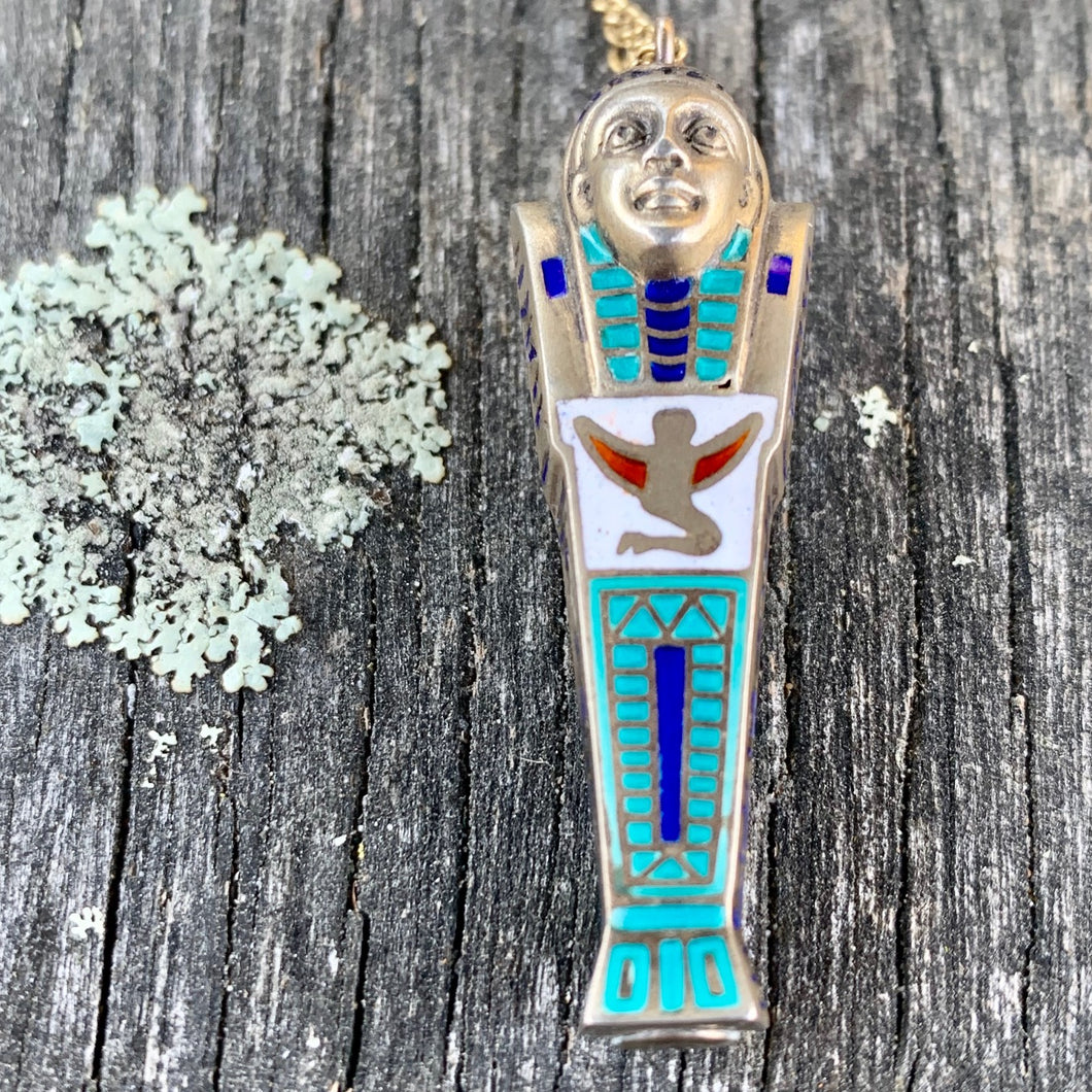 Vintage Egyptian Revival Sarcophagus Pendant and Gold Fill Chain