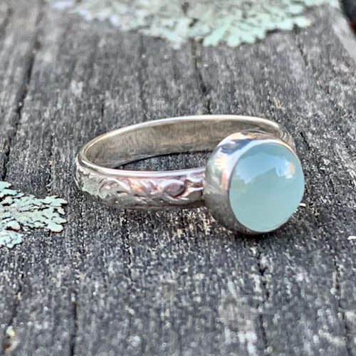 Aquamarine Ring with Ornate Band, Rowena Watson Designs