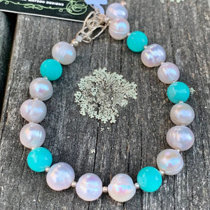 Fresh Water Pearl and Amazonite Bracelet, Rowena Watson Designs