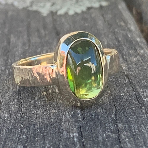 9ct Gold and Green Afghani Tourmaline Ring, Rowena Watson Designs