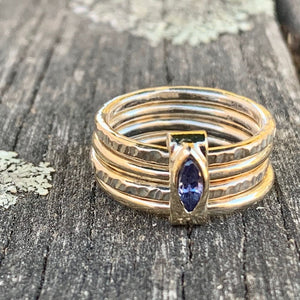 9ct Gold and Tanzanite Unity Ring, Rowena Watson Designs