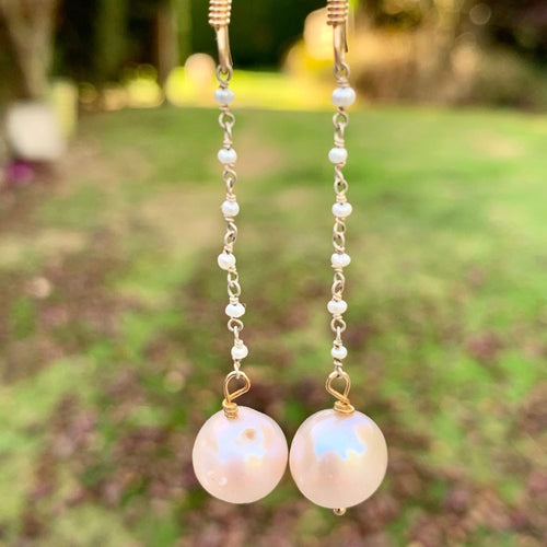 AA Quality Fresh Water Pearl & Gold Fill Earrings, Rowena Watson Designs