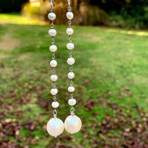 White Fresh Water Pearl Chain Earrings, Rowena Watson Designs