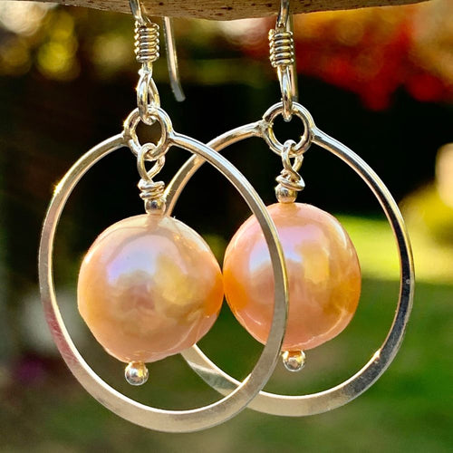 Natural Pink Fresh Water Pearl Earrings, Rowena Watson Designs