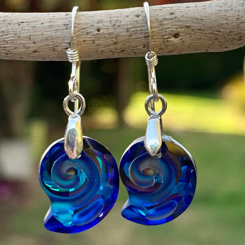 Blue Swarovski Snail Shell Earrings