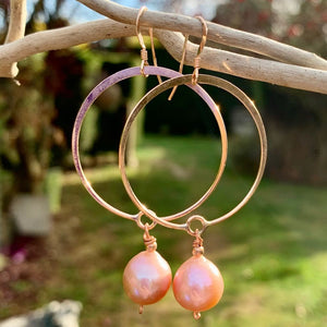 Natural Pink Fresh Water Pearl Hoop Earrings