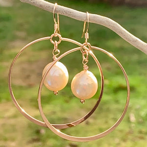 Natural Fresh Water Pearl Hoops Earrings, Rowena Watson Designs