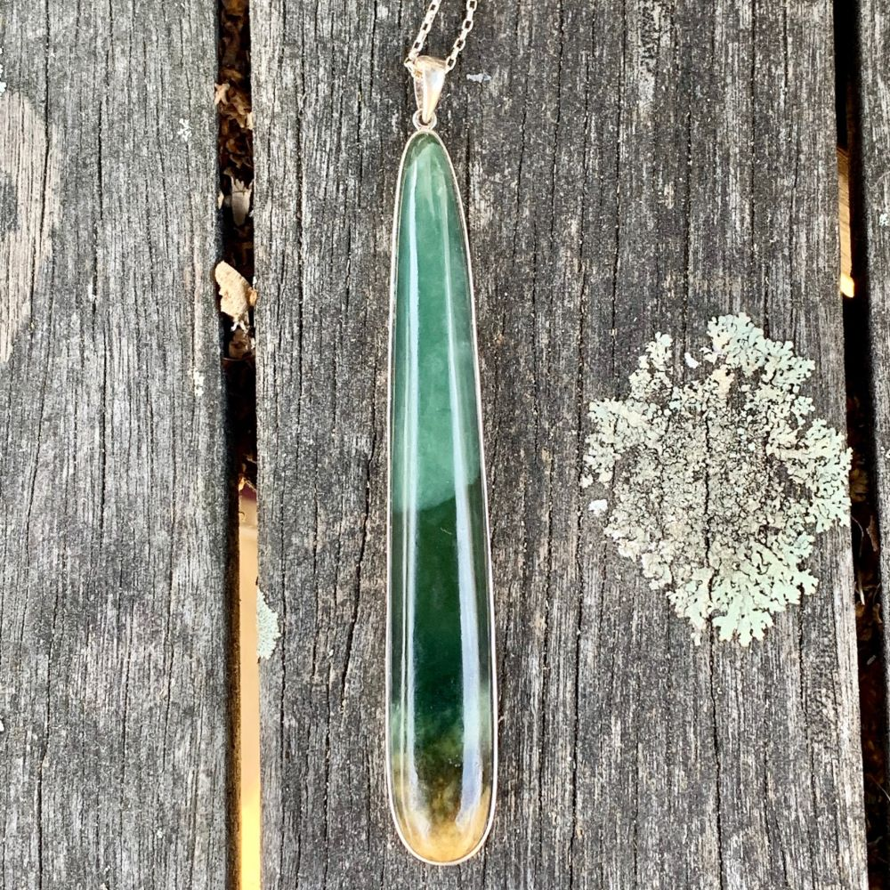 Long Contemporary Marsden Flower Pendant, New Zealand Greenstone