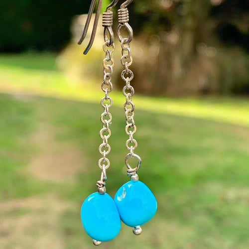 Sleeping Beauty Chain Earrings, Rowena Watson Designs