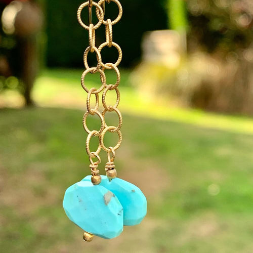 Mexican Turquoise and Gold Fill Earrings, Rowena Watson Designs