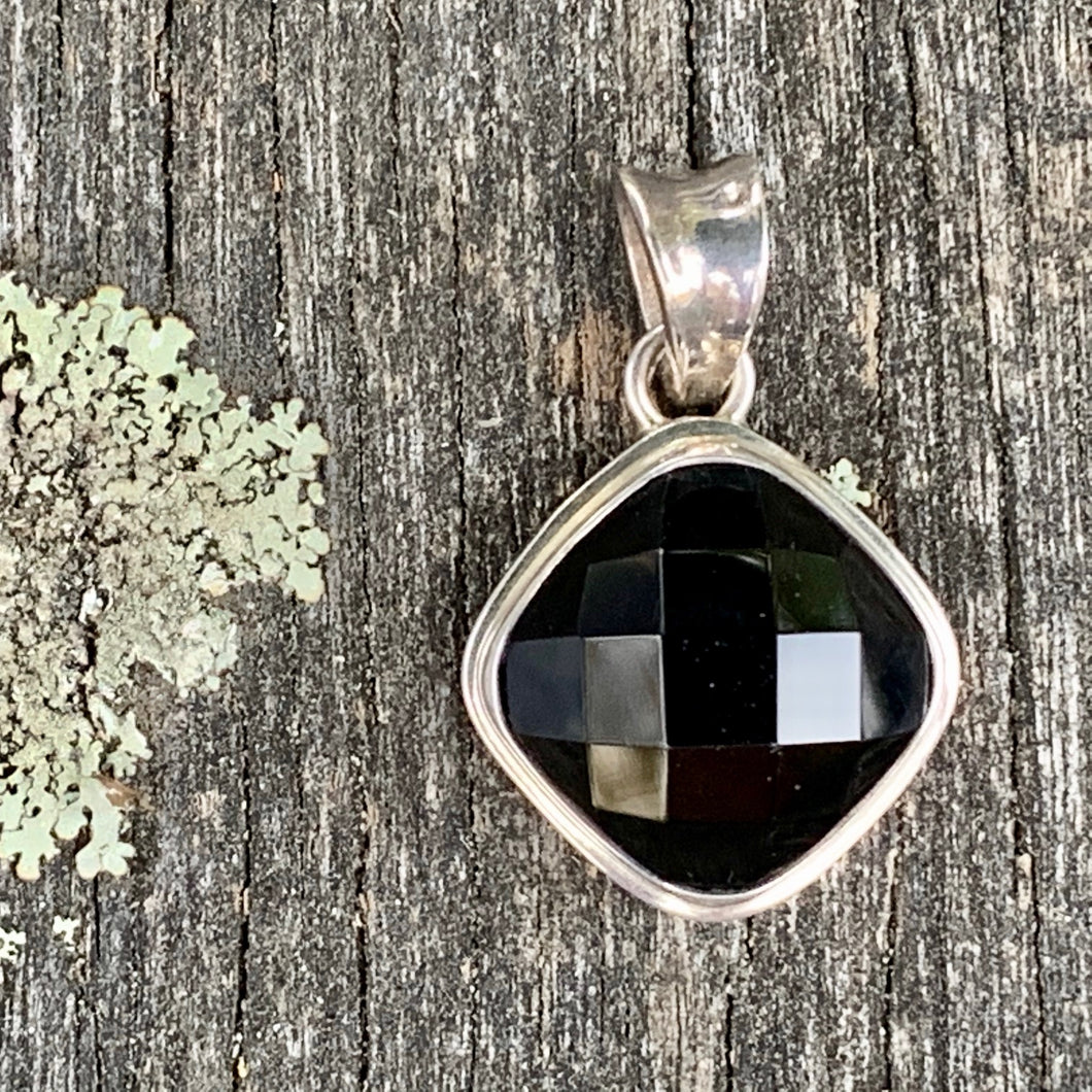 Faceted Black Onyx Pendant, Rowena Watson Designs
