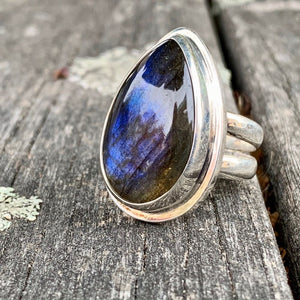 Tear Drop Finnish Labradorite Ring, Rowena Watson Designs