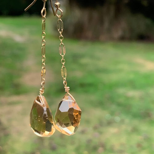 Faceted Brazillian Citrine and Gold Fill Earrings, Rowena Watson Designs