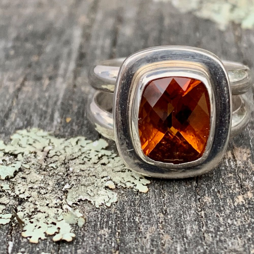 Faceted Brazilian Citrine Ring, Rowena Watson Designs