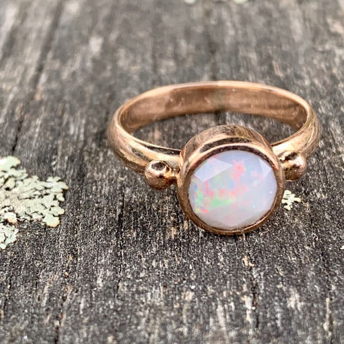 Rose Cut Australian Opal, 9ct Red Gold, Rowena Watson Designs
