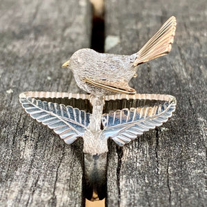 9ct and Sterling Silver Piwakawaka Fantail Ring, Rowena Watson Designs