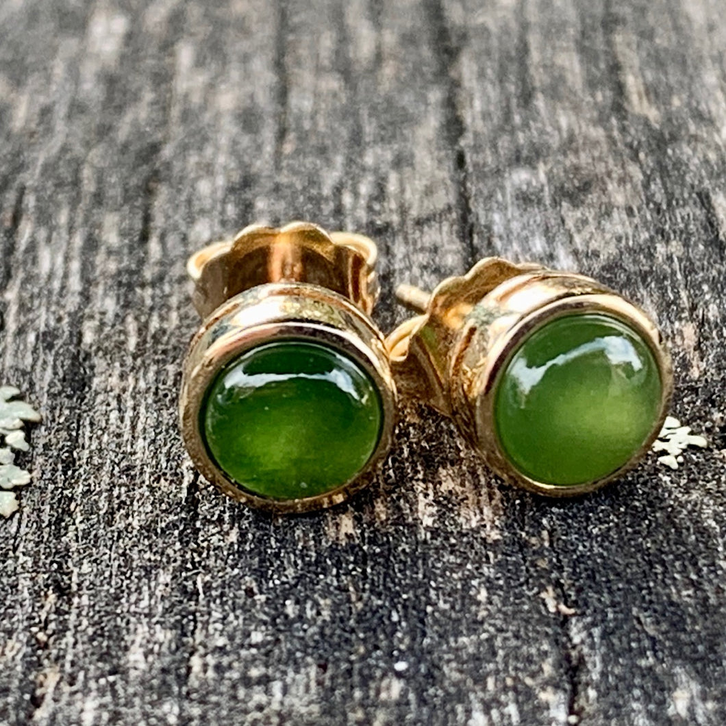 14ct Gold Stud Earrings, New Zealand Greenstone