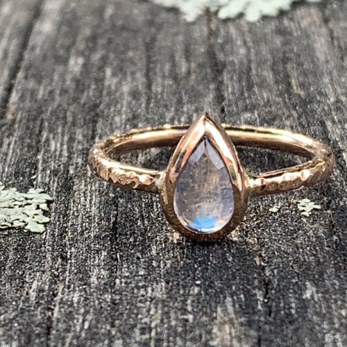 Rainbow Moonstone and 9ct Rose Gold Ring, Rowena Watson Designs