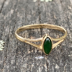 Marquise Pounamu and 14ct Yellow Gold Ring, New Zealand Greenstone