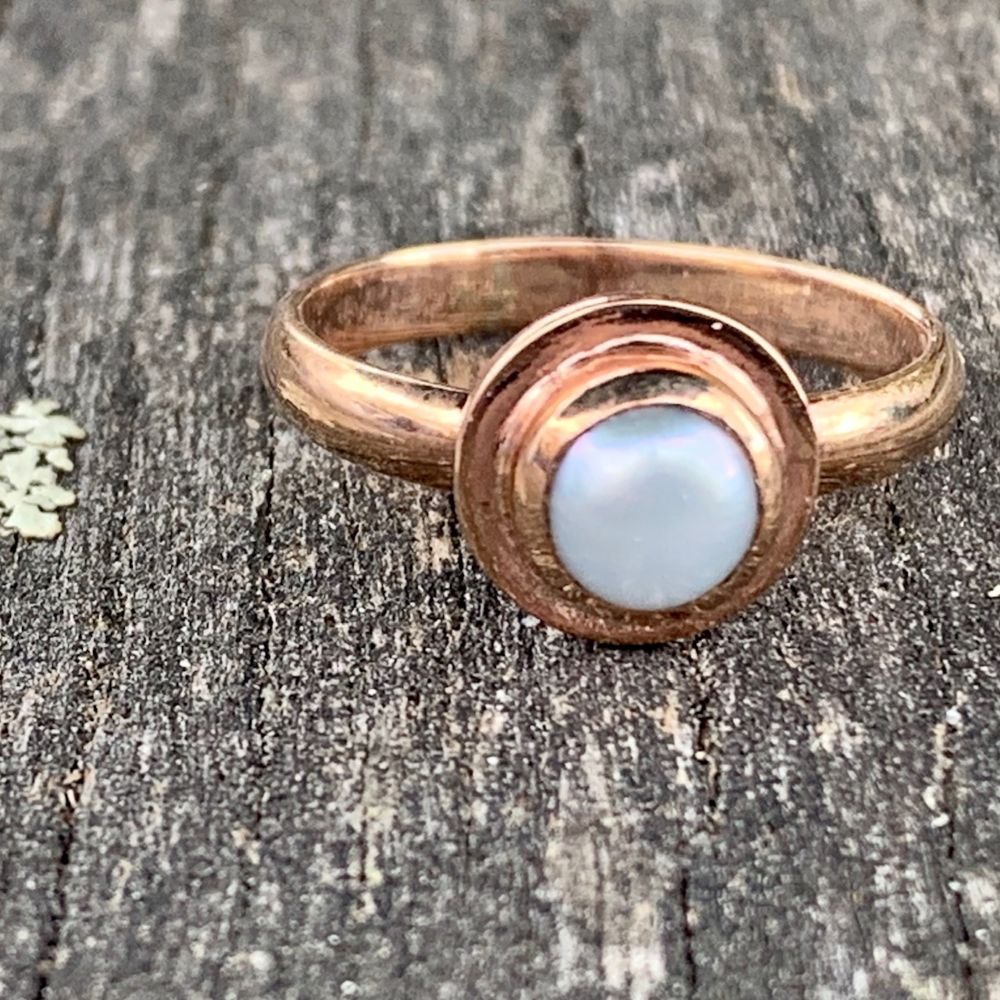 9ct Rose Gold and Fresh Water Pearl Ring, Rowena Watson Designs