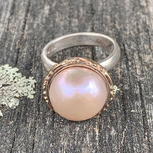 Natural Pink South Sea Pearl, Sterling Silver, and 9ct Gold Ring, Rowena Watson Designs