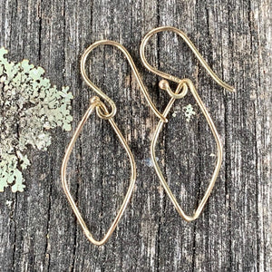 14ct Gold Marquise Twist Earrings, Rowena Watson Designs
