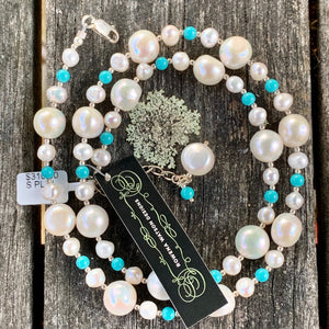 Fresh Water Pearl and Turquoise Necklace, Rowena Watson Designs
