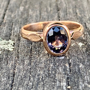 Black Spinel Ring, 9ct Red Gold, Rowena Watson Designs