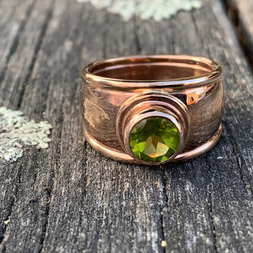 9ct Rose Gold Peridot Ring, Rowena Watson Designs