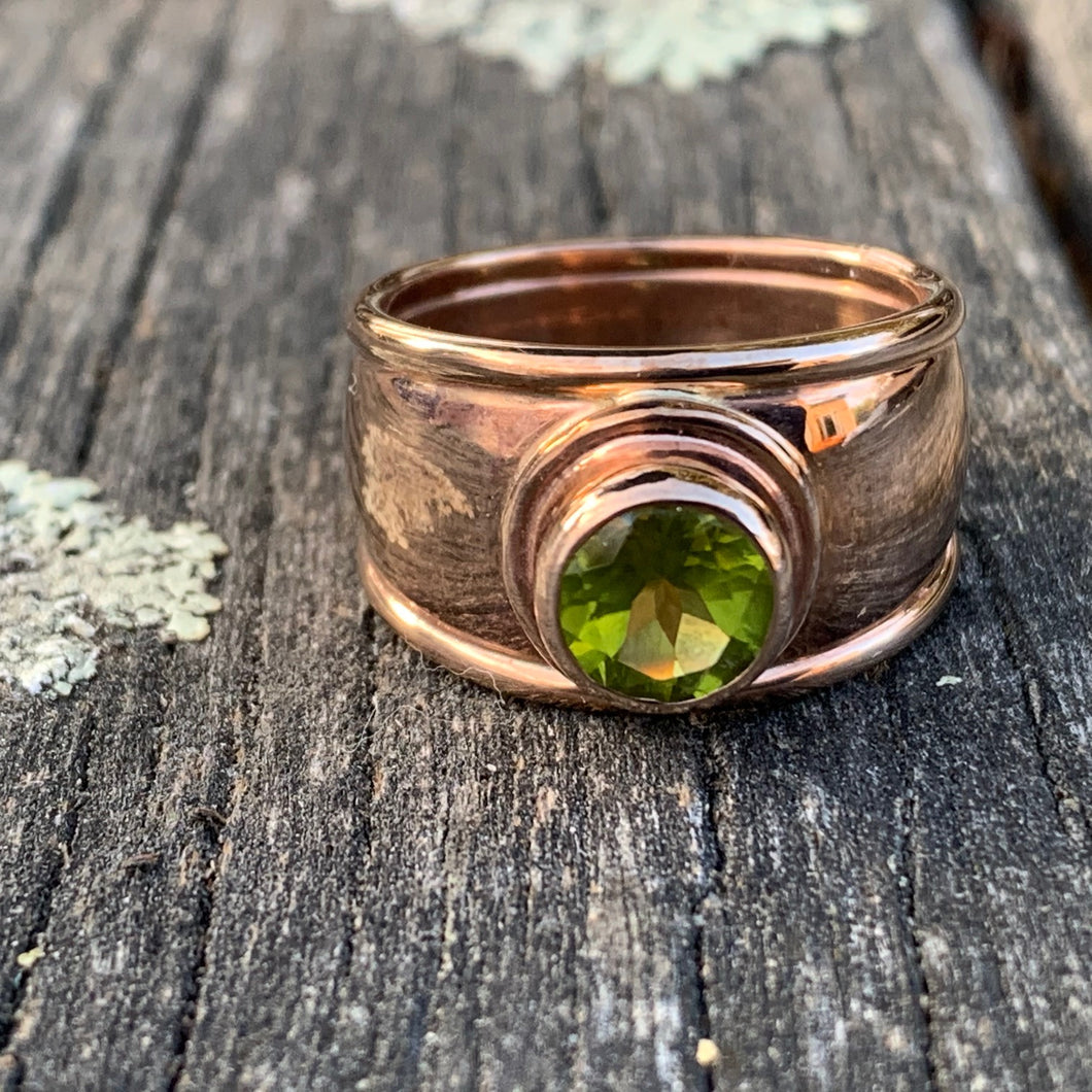 9ct Red Gold Peridot Ring, Rowena Watson Designs