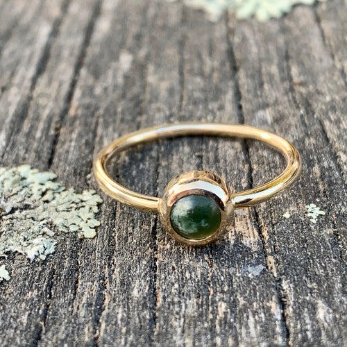 9ct Gold Marsden Flower Greenstone Ring, Rowena Watson Designs
