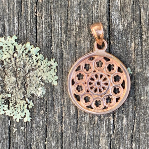 Small Rose Window Pendant, 9ct Red Gold, Rowena Watson Designs