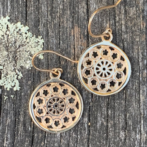 Small Rose Window Earrings, 9ct Yellow Gold, Rowena Watson Designs