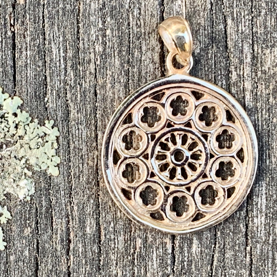 Large Rose Window Pendant, 9ct Yellow Gold, Rowena Watson Designs