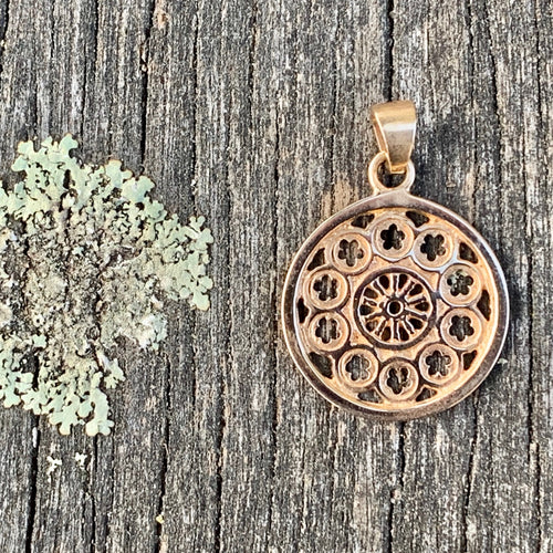 Small Rose Window Pendant, 9ct Yellow Gold, Rowena Watson Designs